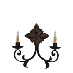 New Hand Made Iron Sconce Designs - Two arm hand made iron sconce. This is one of our new custom designs of hand made wrought iron sconces.