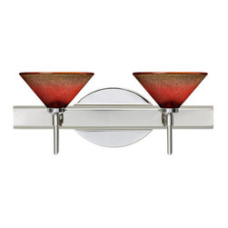 Besa Lighting - Besa Lighting 2SW-117681 Kona 2 Light Reversible Halogen Bathroom Vanity Light - The Kona pendant features a wide cone-shaped glass, that demonstrates contemporary sensibilities. Our Sunset glass is a subtly prismatic pressed glass that features a translucent mix of deep red, which transitions to a lighter red from top to bottom. This decor is energetic and can be used in various ways. When lit this gives off a light that is functional and vibrant. This glossy handcrafted glass uses a process where every glass is consistently produced using a press mold, keeping variations to a minimum. The vanity fixture is equipped with decorative lamp holders, removable finials, linear rectangular housing, and a removable low profile oval canopy cover.Features: