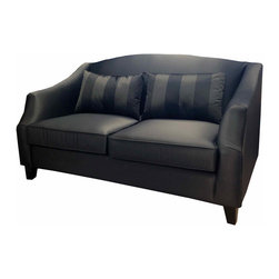 """Armen Living - Garbo 1046 Loveseat in Gray - Adopting suave lines and a graceful curves - create a classically elegant Hollywood aesthetic for your loft, town home, or condo. Celebrate any room you decorate - and your personal sense of style - with this swanky sofa group.; Transitional Loveseat; appointed in an elegant champagne color sateen fabric; solid wood frame; Color: Gray; Comes with standard 1 year limited warranty; Dimensions: 63""""W x 35""""D x 36""""H"""