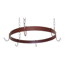 Grace Manufacturing - 20 Inch Round Butcher Hanging Pot Rack, Aged Iron - This round pot rack items comes with 3 hanging chains, ceiling mounting hardware and matching pot hooks. Extra pot rack hooks and chain available for this style. The design affords easy access over any kitchen island. Item has heavy weight support straps and uses high grade steel everywhere. Available in any stock finish. This pot rack is in stock and finished to order for quick lead time and maximum finish flexibility.