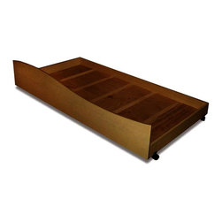 Trundle Box, Twin, Chocolate - A wave of beautiful chocolate finish hard wood make this trundle box attractive and practical. Trundle box can hold a twin mattress or be used for storage and  rolls under  Twin bed, sold separately.