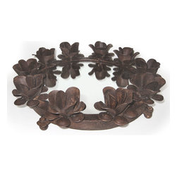 Go Home - Go Home Round Iron Serving Tray with Candleholders - Straight from the lavish Antique European country collection, this grand serving tray evolves as the true emblem of art with culture. It has been adorned with beautifully crafted ten metallic flower candleholders built on the outer rim of this serving tray. Made up of iron with rustic finish and fitted with a centre mirror piece to multiply its charm.