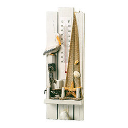 "Wooden Pelican Thermometer - The wooden pelican thermometer measures 4.75"" x 13.5"". There is a pelican, rope, netting  sea shells mounted to the thermometer. This instrument displays temperature in both fahrenheit and celsius. It will add a definite nautical touch to whatever room it is placed in and is a must have for those who appreciate high quality nautical decor. It makes a great gift, impressive decoration  will be admired by all those who love the sea."