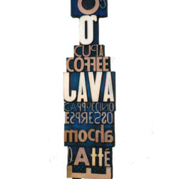 """Pep�� Le Mocha (Original) by Lewis Cohen - Composed of beautiful vintage letters depicting the words of everyone's favorite coffee drink, """"Pep� Le Mocha"""", one of star pieces, deserves a place of honor hanging on a wall in an office, kitchen or wherever. If your favorite coffee concoction is a """"cupa coffee, Java, cappuccino, espresso, mocha or latte"""" it's here on Pep�'s menu."""