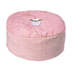 """Wingreen - WinGreen Bean Bag - Gingerbread - Our Gingerbread Bean Bag is appliqued and embroidered with a yummy cupcake and a light dusting of multi-colored dots.  Rose mini-gingham sides. The removable outer cover is machine washable and the inner lining contains fire retardant polystirene beans. Size: 24"""" diameter x 11.80"""" high"""