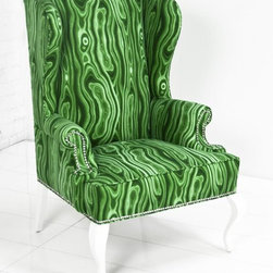 Brixton Wing Chair, Malachite Linen - This is a decidedly modern take on the classic wing chair. In an unexpected malachite linen with glossy white lacquered legs, it's the perfect bold perch.