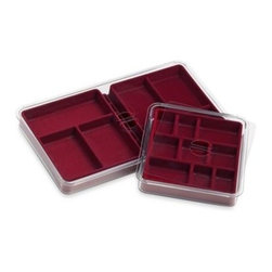 American Innotek, Inc./neatnix Org. - Neatnix Jewelry Stax 6 & 9 Compartment Tray Pack in Burgundy - Neatnix Jewelry Stax are stacking jewelry trays that feature padded and velvet lined compartments for sorting and preserving small jewelry and earrings! Helps create a custom jewelry storage system that perfectly fits your needs.