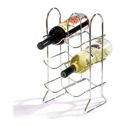 Spectrum Townhouse 6 Bottle Wine Rack - Chrome - Fine wine storage has never been easier. The versatile Spectrum Townhouse 6 Bottle Chrome Wine Rack holds up to 6 bottles of your favorite wine. Each level of this sturdy rack will hold up to two bottles in a sling cradle. Made of metal and finished in chrome this rack can be used either on the floor or as a countertop display. Dimensions: 8W x 6.5D x 15H inches. About Spectrum Diversified DesignsSpectrum Diversified Designs based out of Cleveland Ohio operates out of a 130 000 square foot distribution center and provides services to nearly every continent on the globe. With a specialized team of experts in art design and logistics Spectrum consistently provides top-quality products that are functional attractive and cost-effective. Spectrum is dedicated to providing you with only the best in home accessories. From the kitchen to the bath and all in between you'll find exactly what you need for all of your home needs. The possibilities are endless.
