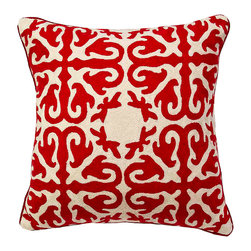 De-Cor - Moroccan Pillow, Ruby Red - Ruby Red Moroccan pillow w/ wool Hand-embroidery.