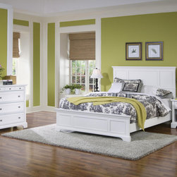 None - Naples Queen Bed Night Stand and Chest - Simple and stylish,this Naples Queen-size Bed Set features durable hardwood and engineered wood with a rich white finish. This set includes a queen-size bed,a four drawer dresser and a nightstand.