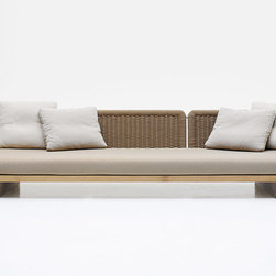 Sabi Outdoor Sofa - There are no words to describe how relaxing I find this sofa by Paola Lenti. The natural iroko wood base coupled with simple neutral handwoven upholstery makes it especially chic and delightful.