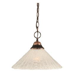 Toltec Lighting - Black Copper Finish 1-Light Pendant with Bubble Glass - 1 medium base 150 watt bulb(s) (not included).