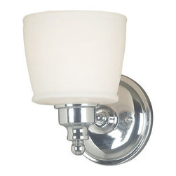 Kenroy Home - Kenroy Home 91701 Single Light Wall Sconce from the Riley Collection - Single Light Wall Sconce from the Riley CollectionKenroy Home offers the finest in decor, performance, and value.  Their chandeliers, ceiling lighting and indoor and outdoor wall lighting capture the essence of lighting technology, and combine it with styling points of view ranging from classical and traditional, to contemporary and casual.  Kenroy lamps and portable lighting utilize a wide variety of materials, and create artistic elements that complement your home furnishings as well as make their own statements.  Particular care is paid to hand applied polishing and painting, matched with the finest in glass and shade treatments.  Fountains are the latest Kenroy Home category entry, and are designed and crafted to blend with various interior and exterior decors. They add soothing movement and the gentle sounds of falling water to unique artistry created in real and simulated stone, metal and ceramics.A colonial style gets an update with striking polished chrome in the Riley collection.  The bright finish elegantly reflects the light while perfectly bridging the gap between contemporary and traditional design.