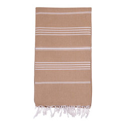 Turkish-T - Basic Bath Turkish-T, Linen - Loomed in the world's finest textile region, this Turkish bath towel is both eco-friendly and lavish. Quick-drying and thin, this luxury beach towel is more lightweight, multifunctional, and long-lasting than a terry cloth towel. Complete with hand-tied fringe, the 100% cotton Basic Bath makes the perfect beach towel, bath sheet, sarong, tablecloth, scarf, and much more. Machine wash on cool. Tumble dry on low heat. Colors do not bleed or fade with wash.