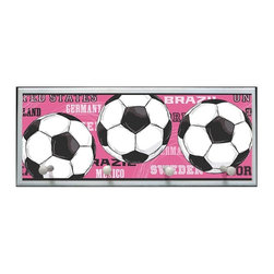 illumalite Designs - Soccer Balls Plaque w Pegs in White - Includes hanging hardware. Solid wood base. Made in USA. 25 in. W x 4 in. D x 10.25 in. H (3.44 lbs.)