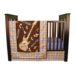 """Trend Lab - Rockstar - 3 Piece Crib Bedding Set - Little Rockstars will love the guitars, spatter paint and musical notes in this set! Trend Lab's Rockstar 3 Piece Crib Bedding Set features a stylish color scheme of chocolate, dusk blue, desert sand and cream with perfect punches of burnt orange. Guitar and musical note appliques are embroidered onto super soft chocolate ultrasuede and finished with an edgy plaid frame and soft ultrasuede trim. Mommy and daddy will cheer for an encore when their little rockstar sleeps soundly with this wonderful mix of soft textures. Set includes quilt, crib sheet and skirt. The quilt measures 35"""" x 45"""" and features guitar, musical note and """"Rockstar"""" appliques and embroideries set against chocolate ultrasuede. The large guitar applique features a guitar and music themed scatter print in chocolate and dusk blue with burnt orange and cream accents all on a desert sand background. A coordinating plaid frame and trim in cream fleece and chocolate ultrasuede add the finishing touch. Dusk blue crib sheet features 10"""" deep pockets and fits a standard 52"""" x 28"""" crib mattress. Elastic around the entire opening ensures a more secure fit. Box pleat skirt with 15"""" drop features the plaid print in dusk blue, desert sand, chocolate and burnt orange. Matching Rockstar Crib Bumpers sold separately. Complete your nursery with coordinating room accessories from the Rockstar collection by Trend Lab."""