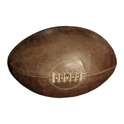 Kathy Kuo Home - Silver dome Vintage Leather Rugby Ball Tabletop Decor - Rugby lovers will rejoice at this sleek tribute to their favorite sport. This vintage-inspired leather rugby ball would make the perfect gift for the sports historian in your life, or look rugged and refined in your own space.