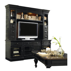 """Hooker Furniture - New Castle II Entertainment Console - White glove, in-home delivery included!  Entertainment console only. (Shown with New Castle II Entertainment Console Hutch.) Two outside doors with wood/beveled glass option have two adjustable shelves behind each; two center doors with wood/beveled glass option have one adjustable shelf behind each; four drawers; one three plug outlet.  Takes most 73-inch monitors when used alone. Takes most 55-inch monitors when used with the New Castle II Entertainment Console Hutch.   Center Door Openings (2): 20 3/16"""" w x 18 7/16"""" d x 17 3/4"""" h  Drawers Inside (4): 16 1/16"""" w x 16 5/16"""" d x 4 3/4"""" h  Side Door Openings (2): 19 1/16"""" w X 18 7/16"""" d x 17 3/4"""" h"""