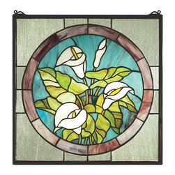 Meyda Tiffany - Meyda Tiffany 23866 CALLA Calla Lily Window - A bouquet of Pure White Calla Lilies with Bronzed Green leaves are the centerpiece of this Plum touched Midnight Blue circle framed in Clear seedy glass. This Meyda Tiffany original window is handcrafted utilizing the copperfoil construction process and 123 pieces of stained art glass encased in a solid brass frame. Mounting bracket and jack chain included.
