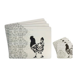 Ladelle - Damask Rooster Grey Large Hardboard Placemats, Set of 4 - The Damask Rooster placemat and coaster features black colored edges and heat resistant coating that can withstand up to 428 degrees farenheit.