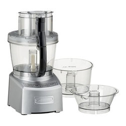 Cuisinart Elite 14-cup Food Processor - Peak power and performance elevates this food processor to Elite status. Durable work bowls with calibrated measurements and pouring spouts come in three nesting sizes; processing options including six-position slicing disk, reversible shredding disc, large and small chopping/mixing blades, and dough blade give you multiple machines in one. Supreme wide-mouth feed tube; cover assembly with patent-pending seal provides maximum processing capacity without spills and spatters. Smart die-cast aluminum processor with on, off, pulse and dough settings is fueled by a high-powered 1,000-watt motor. Includes locking accessory storage case, silicone spatula, retractable cord for tidy storage, how-to DVD and recipe/instruction book.