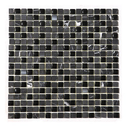 "Black And White Marble With Glass (Clear And Frosted) 5/8"" X 5/8"" Mosaic Blend - Black marble with white veins AKA China Black with a blend of stainless steel is very elegant which blends with almost any other color. Best uses in Backsplashes, Accent walls, Borders, Shower and tub surrounds.  Also known as China Black, Nero Marquina"