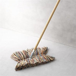 Big Wool Duster Mop - Dust doesn't stand a chance with this pure wool mop handcrafted in Vermont. The natural properties of lanolin draw and hold dust until you're ready to give the mop a good shake. Each removable mop head is a unique combination of multicolored wool fibers and is securely affixed to a sturdy poplar wood pole with fabric tab fasteners. Convenient swivel head adds easy maneuverability and reaches tight spots. Best of all, wool has twice the life expectancy of cotton mops.Pure wool mop headPoplar wood handleHead attaches to pole with fabric tab fastenersHand wash the removable wool headMade in USA