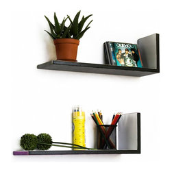 Blancho Bedding - [Mysterious Stripe]L-Shaped Leather Shelf / Bookshelf / Floating Shelf(Set of 2) - These beautifully crafted L Shaped Wall Shelves display the art of woodworking and add a refreshing element to your home. Versatile in design, these leather wall shelves come in various colors and patterns. They spice up your home's decor, and create a multifunctional storage unit for all around your home. These elegant pieces of wall decor can be used for various purposes. It is ideal for displaying keepsakes, books, CDs, photo frames and so much more. Install as shown or you may separate the shelves to create a layout that suits your taste and your style. Each box serves as a practical shelf, as well as a great wall decoration. Each measures approx. 19.3(W) x 6.7(H) x 5.9(D) inches, Thick: 0.6 inches.