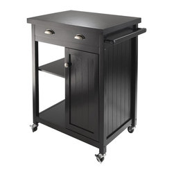 Winsome Trading, INC. - Winsome Wood 20727 Timber Kitchen Cart, Black - Timber kitchen cart with wainscot panel finished in black compliments your kitchen. Top surface working area is 25.67-inch w by 19.37-inch d. One large drawer with inside dimension of 20.71-inch w by 13-1/2-inch d by 2-3/4-inch h. One side has open storage with one adjustable shelf. The other bottom half has close cabinet with one adjustable shelf. Inside cabinet size 10.51-inch w by 15.67-inch d by 22.24-inch h (without shelf). Made of combination solid and composite wood. Ready to assemble.