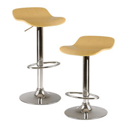 "Winsomewood - Kallie Set of 2 Air Lift Adjustable Stools, Natural Wood Veneer Top & Metal Base - Adjustable Seat Height from 20.70""- 30.80"""