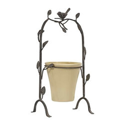 Birdie Perch Flower Pot - Imagine bird song as you pot your favorite plant in the Birdie Perch Flower Pot. This ceramic pot is suspended in a stand crafted to look like vine with a songbird perched on top.