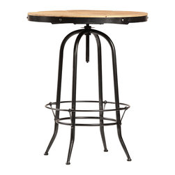 """Ford Bar Table, Stainless Steel - The Ford bar table is a great addition to any city loft or suburban game room. Measuring 32"""" across, this round table is industrial in style and creates the feel of an old-time pub atmosphere. The table's steel base features four rounded legs with a foot rest that connects them all. The adjustable height tabletop is made from reclaimed wood, while the exposed threads of the adjuster and the rivets that hold the top in place add to the rugged industrial look of this handsome bar table."""