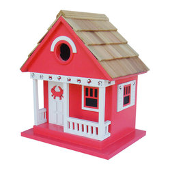 Home Bazaar - Crab Cottage, Red - A vacation cottage that's literally for the birds — such likely inhabitants as chickadees, nuthatches, wrens and titmice. Invite these feathered friends into your world with this charmingly decorated, easy-to-hang home, and rejoice in their songs and colors all season.