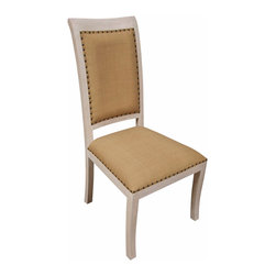 Kathy Kuo Home - Toulon White Wash French Country Side Chair - PAIR - Our white washed side chair blends French rustic charm with modern elegance. The brass nail head trim is an eye-catching contrast to the light olive cotton fabric and weathered mahogany and the tall back and cushioned panel center are a comfortable fit. Give your dining room or sitting room French country charm without foregoing function and practicality with this stylish side chair.