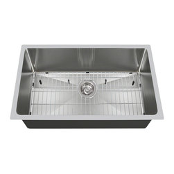 Polaris Sinks - Polaris P0213S 18 Gauge Kitchen Ensemble - Polaris Sinks P0213S 18 Gauge Kitchen Ensemble (3 Items: Sink, Standard Strainer, Sink Grid)