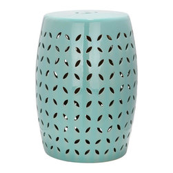 Safavieh - Majorca Garden Stool - Embellished with a lattice pattern of stylized flower petal cut-outs, this sophisticated garden stool is crafted of ceramic and finished with a robin?s egg blue glaze. Use as extra seating, as a handy side table or place several in a cluster for drama indoors or out.