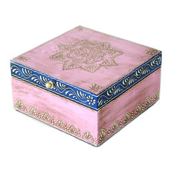 MarktSq - Wooden Jewelry Box (Pink and Blue) - Hand painted jewelry box