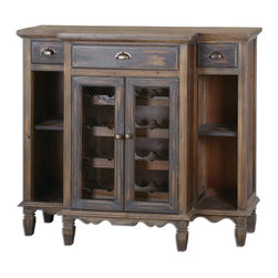 Uttermost - Suzette Wood Wine Cabinet - Beautifully crafted from reclaimed fir wood, this breakfront console features dovetail drawers, antiqued brass hardware and wine bottle storage visible through wire mesh door fronts. Lightly stained with a smoky gray wash.
