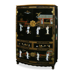 """China Furniture and Arts - Black Lacquer Mother of Pearl TV Armoire - This beautiful TV armoire is exquisitely hand painted with Chinese courtyard scene and decorated with mother of pearl Chinese maiden figures. The design continues on both sides of the cabinet. Top cabinet is 35""""Wx18.5""""Dx25""""H for holding a TV and with a separate shelf for media components. Two felt-lined drawers in the middle and a lower cabinet provide extra storage space. Additional media cable outlets can be made upon request. Hand-forged solid brass hardware. Assembled."""