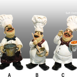 Fat Chef Kitchen Statue Figure with Soft Hat Table Art Decor Complete Set - Beautiful Fat Chef Statue.