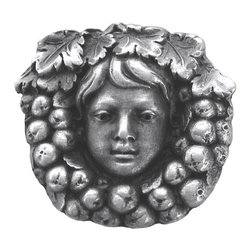 """Inviting Home - Fruit of the Vine Knob (antique pewter) - Hand-cast Fruit of the Vine Knob in antique pewter finish; 1-1/8"""" diameter; Product Specification: Made in the USA. Fine-art foundry hand-pours and hand finished hardware knobs and pulls using Old World methods. Lifetime guaranteed against flaws in craftsmanship. Exceptional clarity of details and depth of relief. All knobs and pulls are hand cast from solid fine pewter or solid bronze. The term antique refers to special methods of treating metal so there is contrast between relief and recessed areas. Knobs and Pulls are lacquered to protect the finish. Alternate finished are available."""