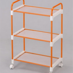 ORE International - Orange 3-Tier Utility Cart - A simple and lightweight cart designed to expand storage room wherever needed. Three levels of storage (10 inches between tier), 4 wheels made easily for mobility with secured and tight safety locks to keep in place at convenience . Made with durable and stainless steel finished with a stylish and contemporary tone of orange paint. 20 in. W x 12 in. D x 30 in. H (7 lbs.)