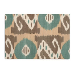 Aqua & Taupe Ikat Grid Custom Placemat Set - Is your table looking sad and lonely? Give it a boost with at set of Simple Placemats. Customizable in hundreds of fabrics, you're sure to find the perfect set for daily dining or that fancy shindig. We love it in this turquoise, taupe, & cream h&woven ikat in a modern global geometric grid. tic tac toe anyone?