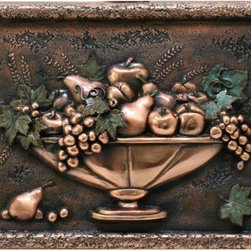 Design Tuscany - Small Fruit Bowl Backsplash /Mural Copper - Beautiful Tuscan design mural for kitchens, a backsplash with Italian style. All our electroplating backsplashes are made with real premium metals and special polymers. Each backsplash comes from an original hand-carved design. They are protected with a durable clear-coat that protects the metal surface from abrasion and oxidation.