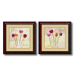 Amanti Art - Fleurs du Jardin (Garden Flowers) - set by Remy Dellal - Add some springtime wonder to your walls with these colorful garden tulips by artist Remy Dellal.