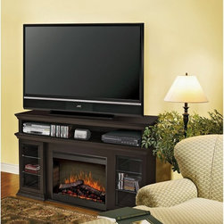 "Dimplex - Dimplex Bennett Espresso Entertainment Center Electric Fireplace Dark Brown - SM - Shop for Fire Places Wood Stoves and Hardware from Hayneedle.com! The Dimplex Bennett Espresso Entertainment Center Electric Fireplace will make a welcome addition to any contemporary setting. This console combines the timeless pleasure of a warm hearth with high-tech home theater so your family can enjoy them both at the same time. With quality wood construction beveled trim and a rich espresso finish this media center will have no trouble coordinating with your fine furniture.You'll save money on heating and you'll save floor space with this unique combination unit. Best of all it costs only pennies a day to operate! Three media shelves on each side plus a full-length component shelf above the fireplace provide convenient storage for DVDs CDs and video games as well as a place for your electronic components. Place up to a 60-inch flat-screen or standard CRT TV on the top and enjoy your favorite shows sports and movies at optimal viewing height.Your media and electronics are safe next to the heating unit which uses a fan to evenly distribute heat. Even the glass fireplace cover remains cool to the touch during flame operation--great safety feature when you have kids. You determine your own comfort level with the adjustable heat output and flame-only operation during warmer weather. You can even switch the unit off and on with a remote control so you don't have to leave your favorite chair. This electronic fireplace even has an interior light and flame speed control.The Bennett burns clean and green emitting no carbon monoxide or emissions.Clean and greenReduces greenhouse gas emissions conserves energy through zone heating and maintains a safe healthy indoor environment.For a clean professional appearance the plug kit can be removed for hard-wire installation. This fireplace features the most attractive realistic flame technology on the market so you can enjoy a fire whenever you're ready to unwind.Instant ambienceWith realistic leading-edge flame technology this product provides instant ambiance and the romance of a wood fire.Instant heatProvides supplemental heat for up to 400 square feet.Optional heatYear-round comfort at the push of a button.Safe electric operationNo combustion means no carbon monoxide emissions and glass stays cool to the touch.Just plug it inRequires no venting- simply plug into any standard household electrical (120V) outlet switch on and enjoy.No moisture problemsSafe electric operation does not contribute to the concerns that come with some unvented gas products. Does not contribute to indoor moisture mold or ventilation problems.About DimplexDimplex North America Limited is the world leader in electric heating offering a wide range of residential commercial and industrial products. The company's commitment to innovation has fostered outstanding product development and design excellence. Recent innovations include the patented electric flame technology - the company made history in the fireplace industry when it developed and produced the first electric fireplace with a truly realistic ""wood burning"" flame effect in 1995. The company has since been granted 87 patents covering various areas of electric flame technology and 37 more are pending."