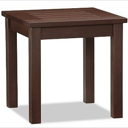 """Chesapeake Snack Table - Our compact and portable snack table makes a handy addition to an outdoor space. It's finished with our improved, long-wearing polyurethane stain, which acts as a protective coat to maintain the surface beauty and integrity. Click to read an article on {{link path='pages/popups/chesapeake-care_popup.html' class='popup' width='480' height='300'}}recommended care{{/link}}. 18"""" square, 18"""" high Crafted of FSC-certified, moisture-resistant eucalyptus. A polyurethane finish provides unparalleled durability and water resistance. Exposed hardware is stainless steel with an antique brass finish. Simple assembly. View our {{link path='pages/popups/fb-outdoor.html' class='popup' width='480' height='300'}}Furniture Brochure{{/link}}."""