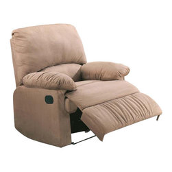 """Coaster - Recliner (Light Brown) By Coaster - Dimension: 35""""W x 35""""D x 40""""H Seat Depth: 20 1/2"""" Finish: Light Brown Material: Microfiber Recliner with Pillow Arms in Light Brown Microfiber Features plush pillow arms and a broad pillow back provide truly comfortable seating for complete relaxation. A wrapped chaise lifts up to cradle your legs and feet, while the reclining feature lets you sit back and relax. Easy to reach external handle for operating the reclining mechanism. Soft durable microfiber seating make this recliner the perfect choice for style and comfort. Also available in beige, chocolate and sage."""