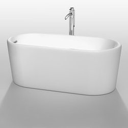 """Wyndham Collection(R) - Ursula 59"""" Soaking Bathtub by Wyndham Collection - White - Surround yourself with tranquility and comfort in the Ursula freestanding bathtub. Combining luxury with practicality, the oval, ergonomic design conforms to and supports your body as you stretch out and enjoy a deep, relaxing soak. With its gracefully shaped lines and elegant profile, this versatile bath complements a wide range of bathroom styles and offers easy installation. Definitely a talking point in any updated bathroom.Pair this bathtub with a freestanding tub filler to create a serene bath environment. Browse all the Wyndham Collection Bathtubs. Features Much deeper than standard tubs for full immersion Warmer to the touch and more comfortable than traditional enamel/steel tubs Acrylic construction for strength and ease of handling and installation Includes adjustable base for accurate leveling and stability Includes pop-up drain Includes overflow Tub filler not included UPC and cUPC Approved Spec Sheet Freestanding Tub Installation GuideTaron Tub Filler Installation Guide"""