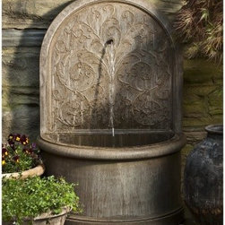 Campania International Corsini Wall Cast Stone Outdoor Fountain - The classical design of the Campania International Corsini Wall Cast Stone Fountain makes it the perfect accent for any yard. Made to last from cast stone concrete and complete with pump, you will be enjoying the soothing sounds of falling water in no time. Be the envy of the neighborhood today.About Campania InternationalEstablished in 1984, Campania International's reputation has been built on quality original products and service. Originally selling terra cotta planters, Campania soon began to research and develop the design and manufacture of cast stone garden planters and ornaments. Campania is also an importer and wholesaler of garden products, including polyethylene, terra cotta, glazed pottery, cast iron, and fiberglass planters as well as classic garden structures, fountains, and cast resin statuary.Campania Cast Stone: The ProcessThe creation of Campania's cast stone pieces begins and ends by hand. From the creation of an original design, making of a mold, pouring the cast stone, application of the patina to the final packing of an order, the process is both technical and artistic. As many as 30 pairs of hands are involved in the creation of each Campania piece in a labor intensive 15 step process.The process begins either with the creation of an original copyrighted design by Campania's artisans or an antique original. Antique originals will often require some restoration work, which is also done in-house by expert craftsmen. Campania's mold making department will then begin a multi-step process to create a production mold which will properly replicate the detail and texture of the original piece. Depending on its size and complexity, a mold can take as long as three months to complete. Campania creates in excess of 700 molds per year.After a mold is completed, it is moved to the production area where a team individually hand pours the liquid cast stone mixture into the mold and employs spe